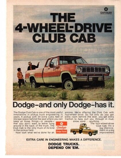 1974 Dodge 4WD Club Cab Pickup ad Popular Science Magazine March 74 VG