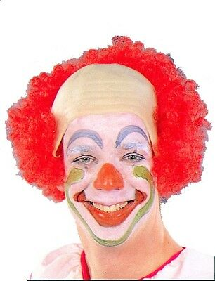 RED BOW HEAD CLOWN  BALD CAP WITH HAIR CIRCUS EVIL CLOWN COSTUME WIG ADULT  (Bald Cap With Hair)