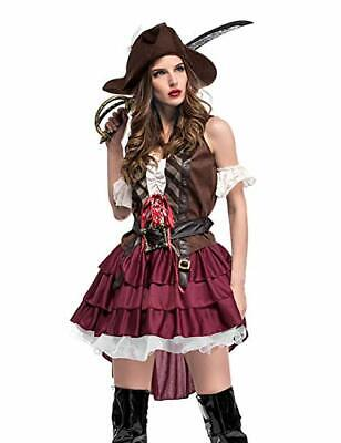 Pirate Outfit Adults (GRACIN Womens Halloween Pirate Costume, 5-Piece Cosplay Party Outfit)