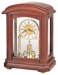 Bulova B1848 Nordale Walnut Finish Wood Mantel Table Clock Display Model