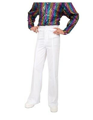 MENS 70S DISCO FEVER WHITE BELLBOTTOM BELL BOTTOM COSTUME PANTS SATURDAY NIGHT