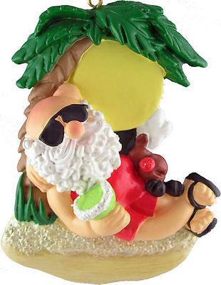 SANTA ON BEACH Tropical Christmas Ornament, 3.75