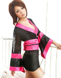 Black Pink Japanese Kimono Mini Dress Top Clubbing Cosplay