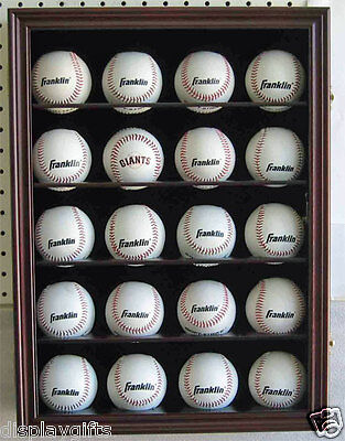 20 Baseball Display Case Wall Cabinet Shadow box, UV Protection, Lock, -