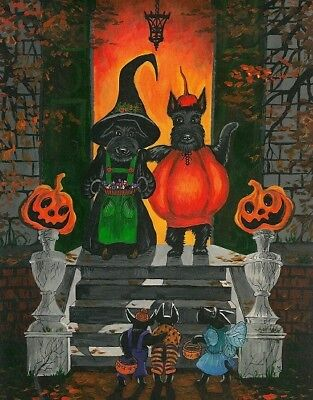 11x14 PRINT OF PAINTING HALLOWEEN FOLK ART SCOTTISH TERRIER RYTA SCOTTIE costume - Halloween Costume Painting