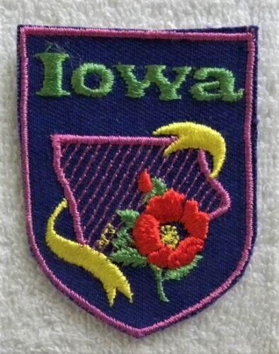 Vintage Iowa IA, Wild Rose Shield Patch, Unused