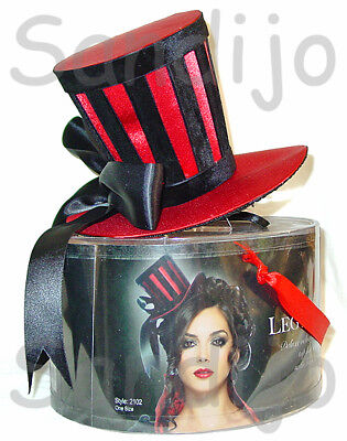 Velvet Striped Red Satin Mini Top Hat, Leg Avenue 2102, Adult Women's, One Size (Striped Top Hat)
