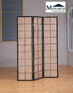 NEW MONARCH VENICE FOLDING SCREEN MONARCH SPECIALTIES 3-PANEL FOLDING SCREEN WITH FABRIC INLAY, CAPPUCCINO 106760843