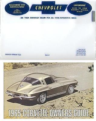 1965 65 Corvette Owners Manual With Cover