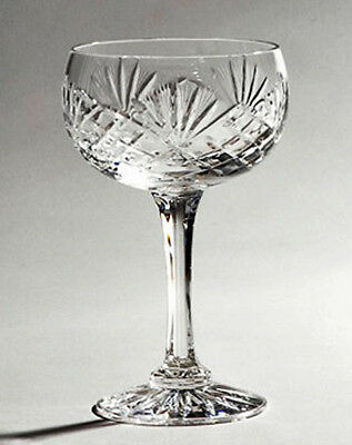 BOX 6 HAND CUT CHAMPAGNE GLASS SAUCERS 24% Lead Crystal Finest Quality ZAWIERCIE