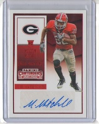 Malcolm Mitchell 2016 Contenders Draft Red Ssp Rc Auto  195 Patriots Bulldogs