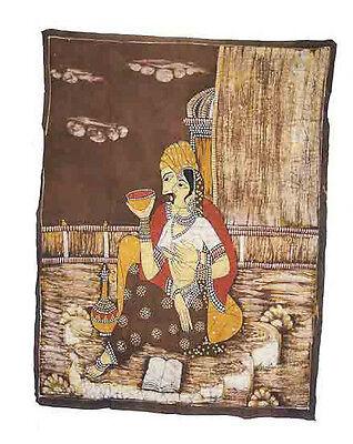 Batik Hanging Wall Woman Mughal-Hindu 112 x 86 cm Peterandclo 862
