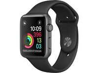 Apple iWatch 38mm series 1 space grey aluminium case with black sport strap