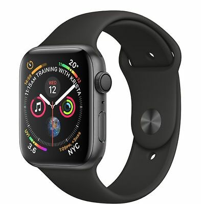 NUOVO Apple Watch Series 4 GPS 44mm Space Gray Aluminium Black Sport Band MU6D2