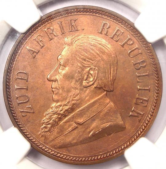 1898 South Africa Zar Penny - Certified NGC MS64 RB - Rare Red BU MS Coin!