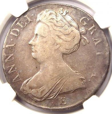 1707-E Great Britain Anna Crown - Certified NGC VF Details - ESC-103 - Rare Coin