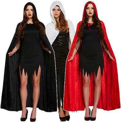 Damen Schwarz Rot Weiß Lang Velvet Vampir Mantel Umhang Kostüm Kleid Outfit (Langen Schwarzen Vampir-kleid)