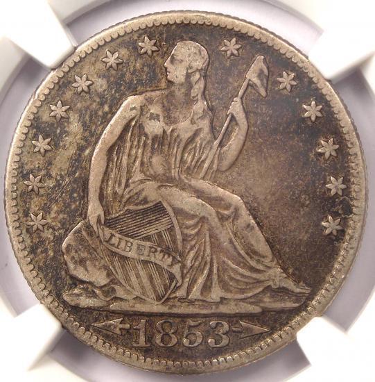 1853-O Arrows & Rays Seated Liberty Half Dollar 50C - Certified NGC XF40 (EF40)