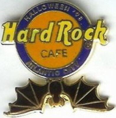 Hard Rock Cafe ATLANTIC CITY 1998 HALLOWEEN PIN HRC Logo with Hanging Bat #534 (Rock City Halloween)