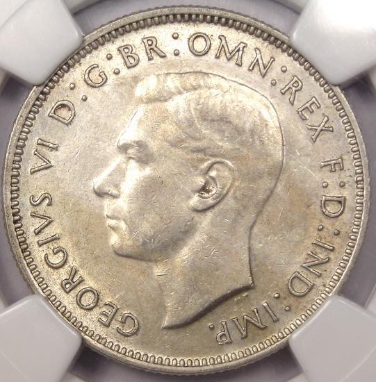 1939 Australia 2 Shillings (2S, Florin) - NGC AU55 - Rare Date - $1,450 in UNC