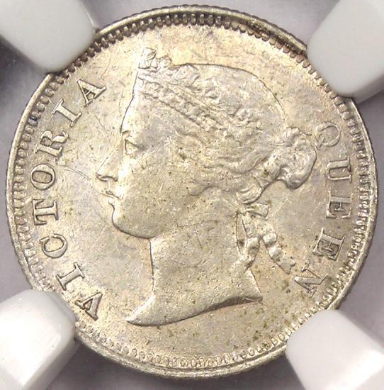 1881 Straits Settlements Victoria 5C - NGC AU Details - Rare Certified Coin