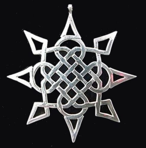 "Star of the East Sterling Silver Christmas Ornament Hand & Hammer 2.5"" High"