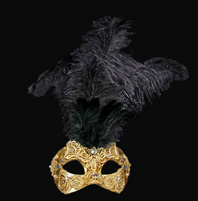 Mask Venice Macrame Golden in Feathers Ostrich Black -mask Venetian VG3C 569