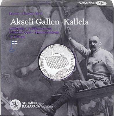"2015 Finland 10 Euro Silver Proof Coin ""Akseli Gallen-Kallela 150 Years"""