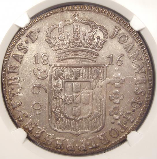 1816-B Brazil 960 Reis (960R) - NGC MS61 - Rare Certified BU UNC Coin