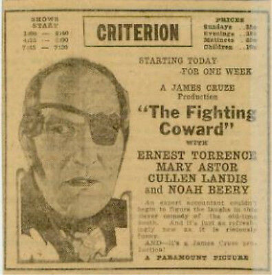 The Fighting Coward Ernest Torrence Movie Original Advertising 1924