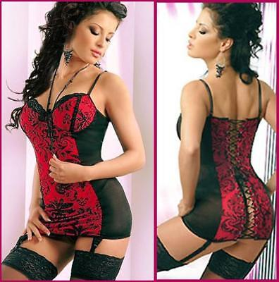 Lingerie Bustier Chemise With Garters Thong BabyDoll- PLUS 3X-6XL 7XL 8XL