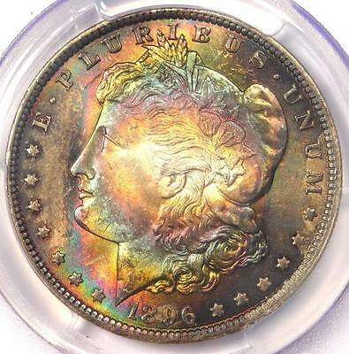 1896 Toned Morgan Silver Dollar $1 - Certified PCGS MS62 - Nice Rainbow Toning!