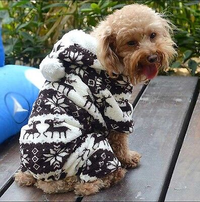 Pet Puppy Warm Clothes Sweater Dog Cat Hoodie Jumpsuit Cute Coat Outwear Jacket