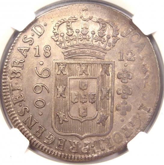 1812-B Brazil 960 Reis (960R) - NGC Uncirculated - Rare Certified BU UNC Coin