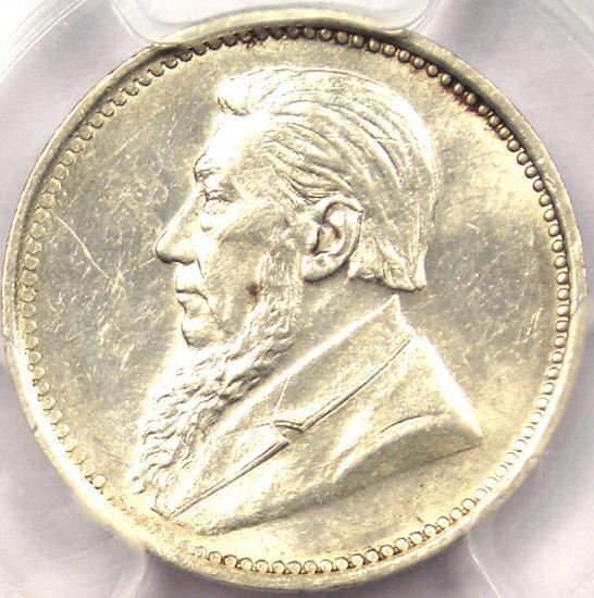 1897 South Africa Threepence (3D) - PCGS MS63 - Rare Date BU UNC Zar Coin