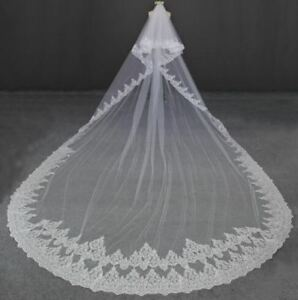 5 Meters Full Edge Cathedral Veil with Blusher & Comb
