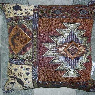 Lizard Pillow (New Southwest Kokopelli Lizard Turtle Tapestry Throw Gift Pillow 17x17 NIP Brown )