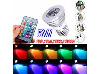 Brand New 5W RGB LED Bulb Light, E14 E27 B22 GU10, 16 x Colours + Remote Control, Memory Function