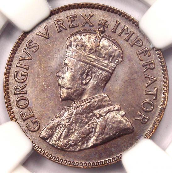 1923 South Africa George V 1/4 Penny - 1/4P - NGC MS65 - Rare Gem BU Coin!