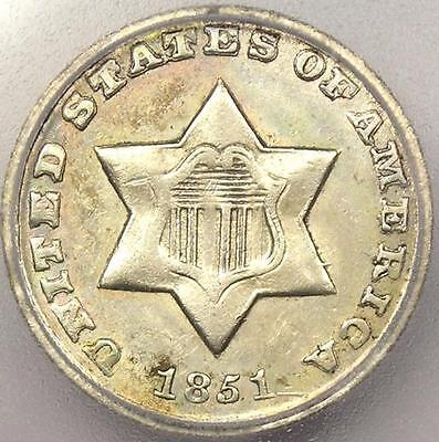 1851-O THREE CENT SILVER PIECE 3CS - ICG AU58 -  NEW ORLEANS DATE COIN