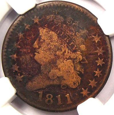 1811 CLASSIC HEAD HALF CENT   NGC VG DETAILS    KEY DATE CERTIFIED COIN
