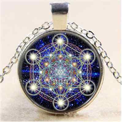 Sacred Geometry Photo Cabochon Glass Tibet Silver Chain Pendant Necklace