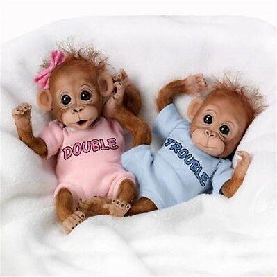 ASHTON DRAKE DOUBLE TROUBLE Baby Orangutan MONKEY Doll Twins Set NEW