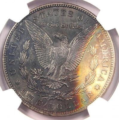 1887 Toned Morgan Silver Dollar $1 - Certified NGC MS62 - Eclipse Rainbow Toning