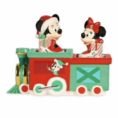 Disney Mickey & Minnie Christmas Holiday Salt & Pepper Set in Train Caddy