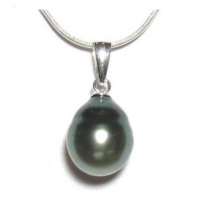 9-10mm Baroque Tahitian Pearl Simple Bail Pendant in 925 Sterling Silver