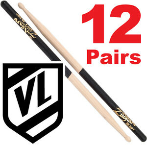 Zildjian-5B-Wood-Tip-Black-DIP-Drum-Sticks-12-pairs-5BWD-Hickory-Drumsticks