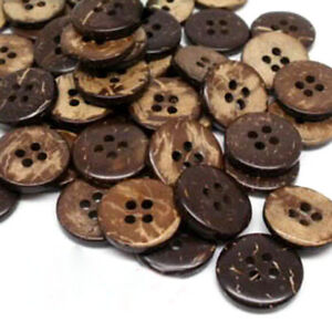 100 Pcs Brown Coconut Shell 4 Holes Buttons fit Sewing or Scrapbooking 15mm