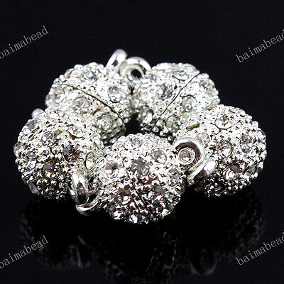 WHOLESALE LOT CLEAR CRYSTAL SILVER/GOLD/GRAY ROUND BALL FINDINGS MAGNETIC CLASPS on Rummage