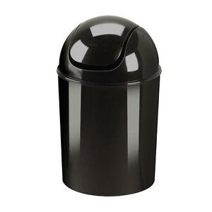 New Contemporary Black Polypropylene 1.5 Gallon Mini Swing Lid Trash Waste Can